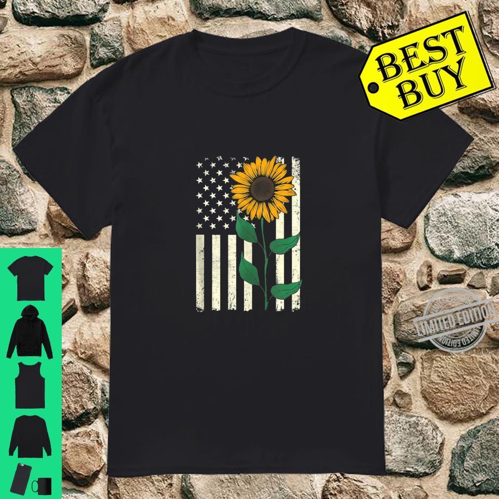 Patriotic Sunflower American Flag 4th of July Cute Flower Shirt